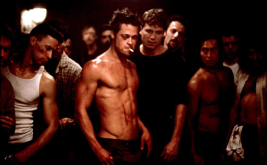 """Brad Pitt and his Fight Club cohorts in 1999's """"Fight Club."""""""