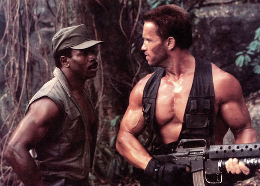 "Carl Weathers and Arnold Schwarzenegger in 1987's ""Predator."""