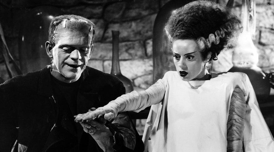 "Boris Karloff and Elsa Lanchester in 1935's ""Bride of Frankenstein."""