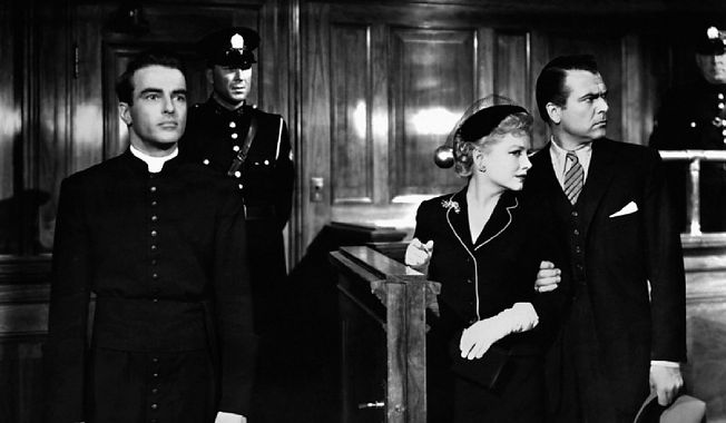 """Montgomery Clift, Anne Baxter, and Roger Dann in 1953's """"I Confess."""""""