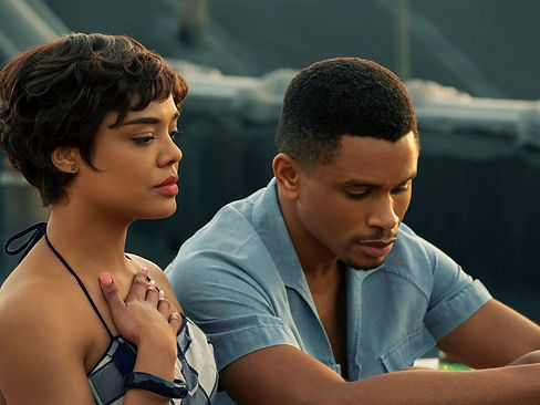 "Tessa Thompson and Nnamdi Asomugha in 2020's ""Sylvie's Love."""