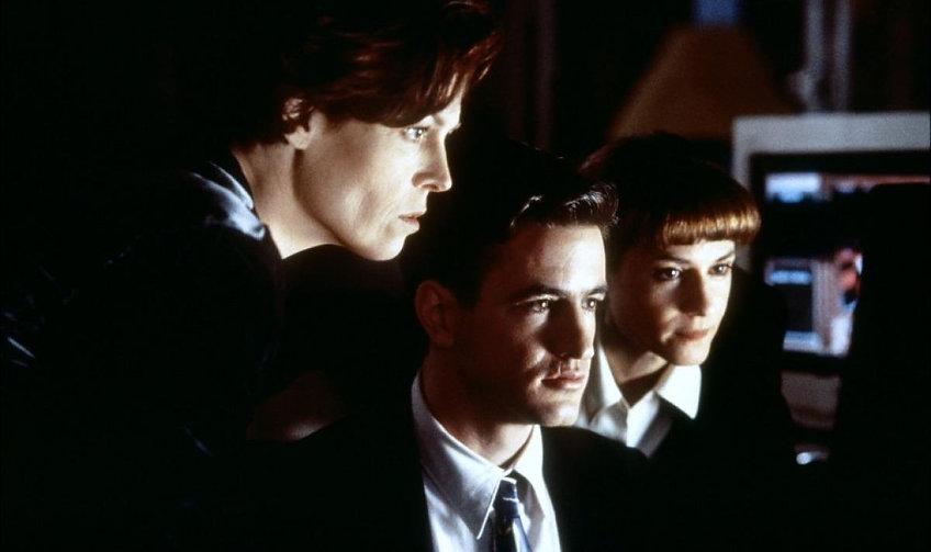 "Sigourney Weaver, Dermot Mulroney, and Holly Hunter  in 1995's ""Copycat."""