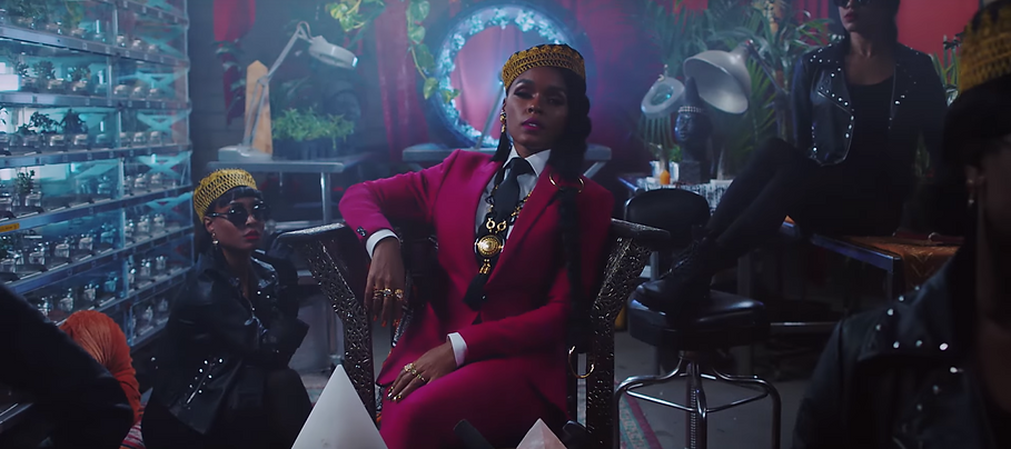 "Janelle Monáe in the music video for ""Django Jane."" From YouTube."