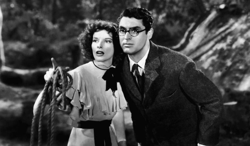 """Movie still from 1938's """"Bringing Up Baby""""."""