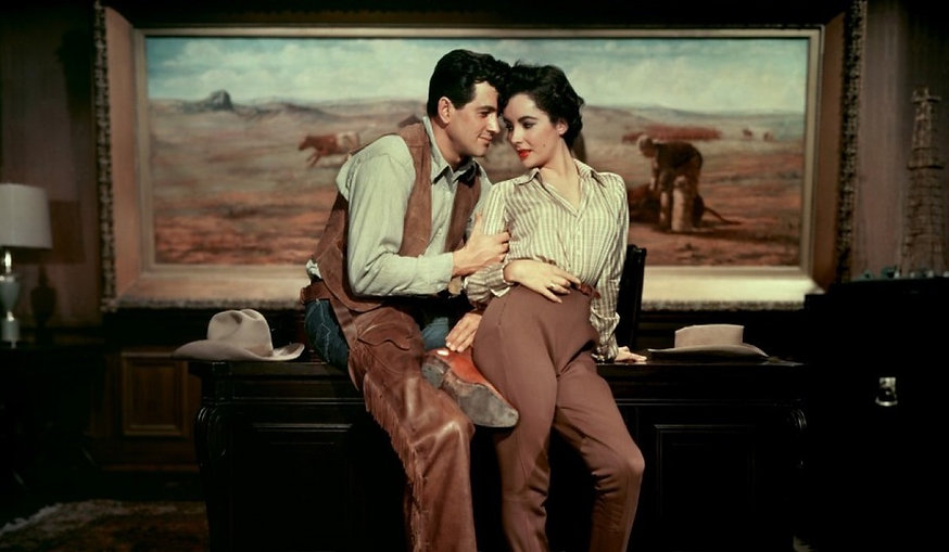 "Rock Hudson and Elizabeth Taylor in 1956's ""Giant."""