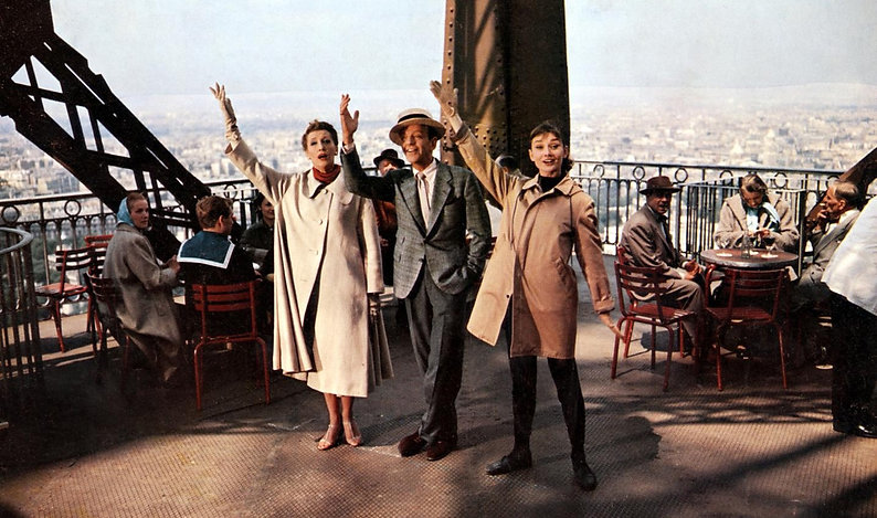 "Kay Thompson, Fred Astaire, and Audrey Hepburn in 1957's ""Funny Face."""