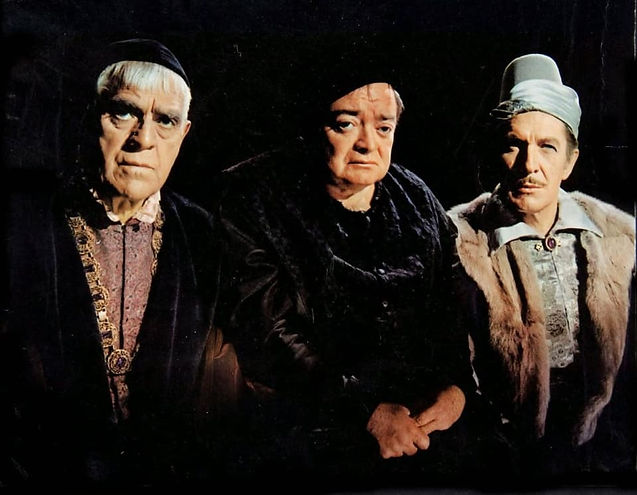 """Boris Karloff, Peter Lorre, and Vincent Price in 1963's """"The Raven."""""""