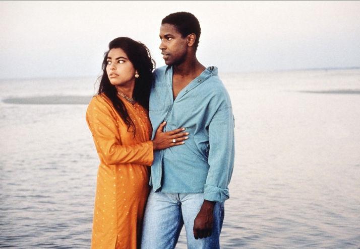 "Sarita Choudhury and Denzel Washington in 1991's ""Mississippi Masala."""