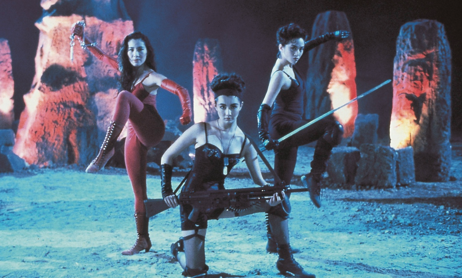 "Michelle Yeoh, Maggie Cheung, and Anita Mui in 1993's ""The Heroic Trio."""