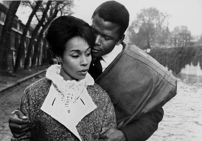 "Diahann Carroll and Sidney Poitier in 1961's ""Paris Blues."""