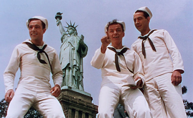 "Gene Kelly, Frank Sinatra, and Jules Munshin in 1949's ""On the Town."""