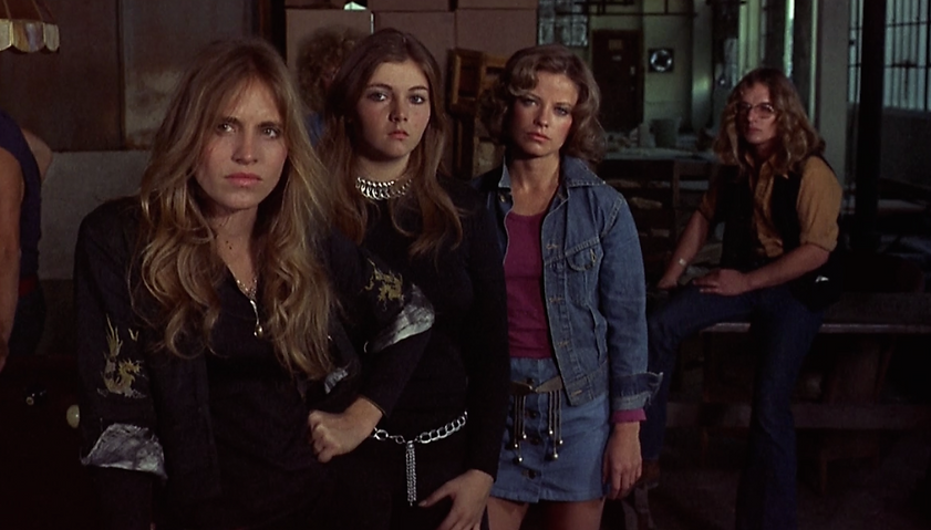 """Movie still from 1975's """"Switchblade Sisters""""."""