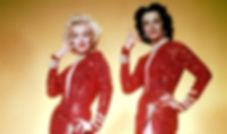 "Marilyn Monroe and Jane Russell in a promotional photograph for 1953's ""Gentlemen Prefer Blondes."""