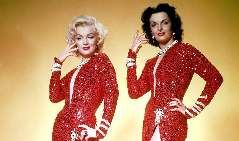 """Marilyn Monroe and Jane Russell in a promotional photograph for 1953's """"Gentlemen Prefer Blondes."""""""