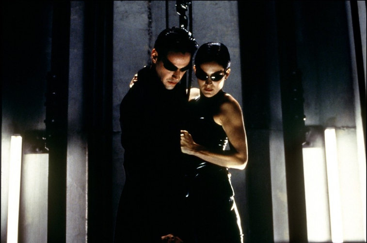 "Keanu Reeves and Carrie-Anne Moss in 1999's ""The Matrix."""