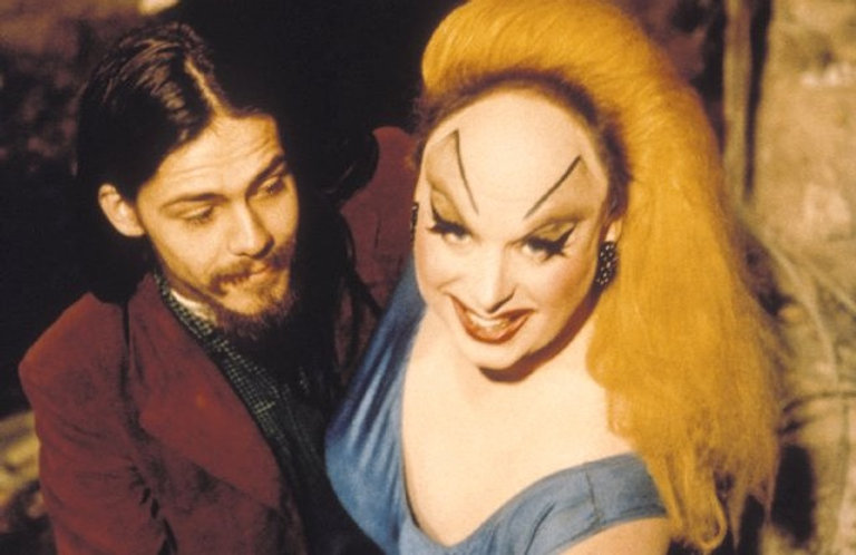 "Danny Mills and Divine in 1972's ""Pink Flamingos."""