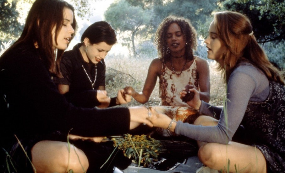 "Neve Campbell, Fairuza Balk, Rachel True, and Robin Tunney in 1996's ""The Craft."""