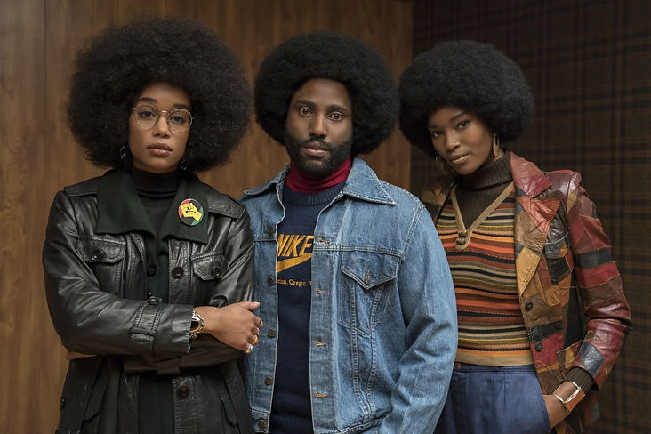 """Laura Harrier, John David Washington, and Damaris Lewis in 2018's """"BlacKkKlansman."""""""