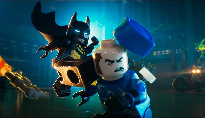 "Movie still from 2017's ""The Lego Batman Movie."""