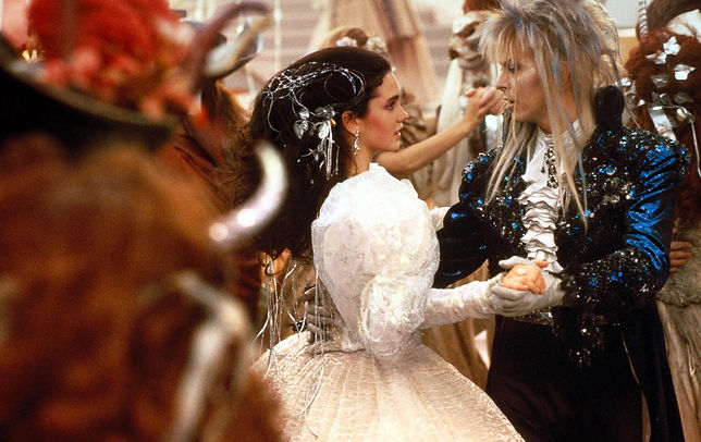 "Jennifer Connelly and David Bowie in 1986's ""Labyrinth."""