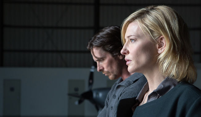 "Christian Bale and Cate Blanchett in 2016's ""Knight of Cups."""