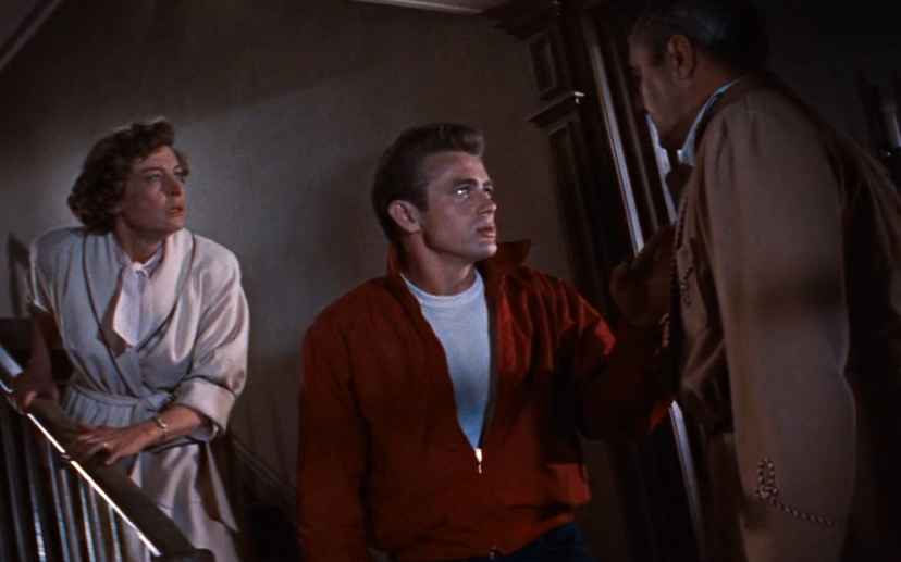 """Ann Doran, James Dean, and Jim Backus in 1955's """"Rebel Without a Cause."""""""