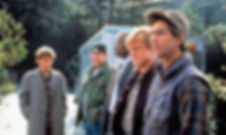 """River Phoenix, Dan Aykroyd, Sidney Poitier, Robert Redford, and David Strathairn in 1992's """"Sneakers."""""""
