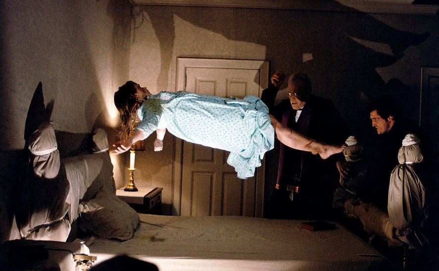 """Linda Blair, Max von Sydow, and Jason Miller in 1973's """"The Exorcist."""""""