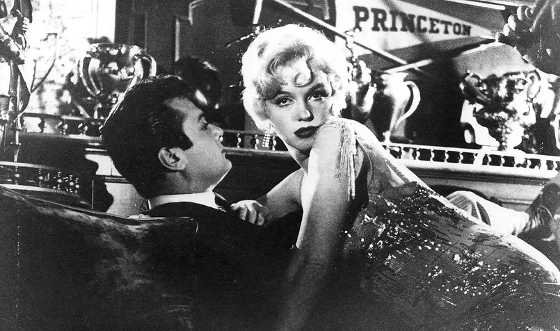 "Tony Curtis and Marilyn Monroe in 1959's ""Some Like It Hot."""