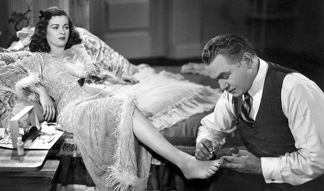 "Joan Bennett and Edward G. Robinson in 1945's ""Scarlet Street."""