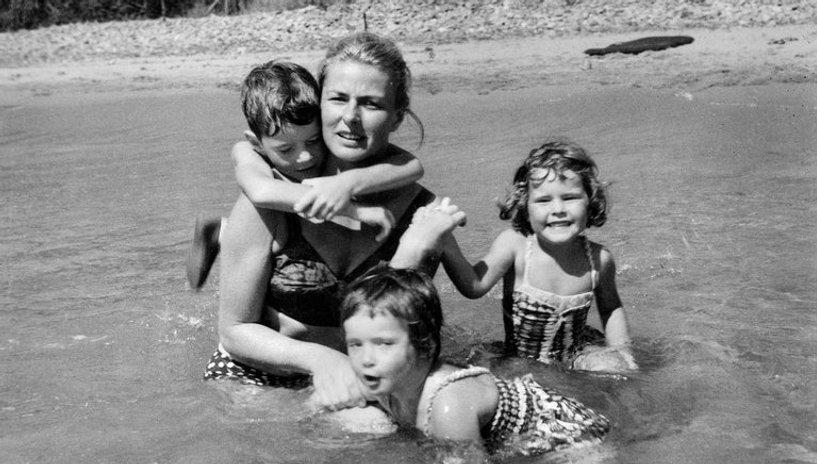 "Ingrid Bergman and her children in a candid from ""Ingrid Bergman: In Her Own Words."""