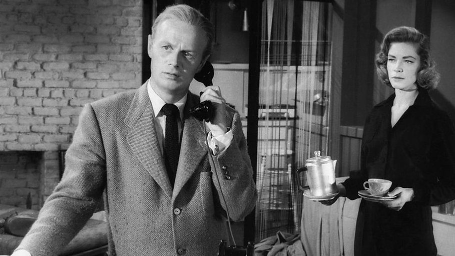 "Richard Widmark and Lauren Bacall in 1955's ""The Cobweb."""