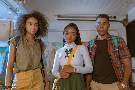 "Celeste O'Connor, Lovie Simone, and Jharrel Jerome in 2020's ""Selah and the Spades."""
