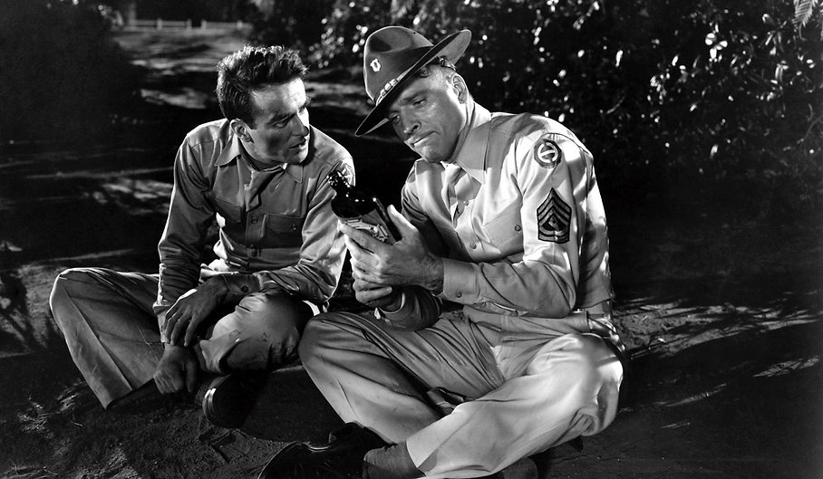 "Montgomery Clift and Burt Lancaster in 1953's ""From Here to Eternity."""