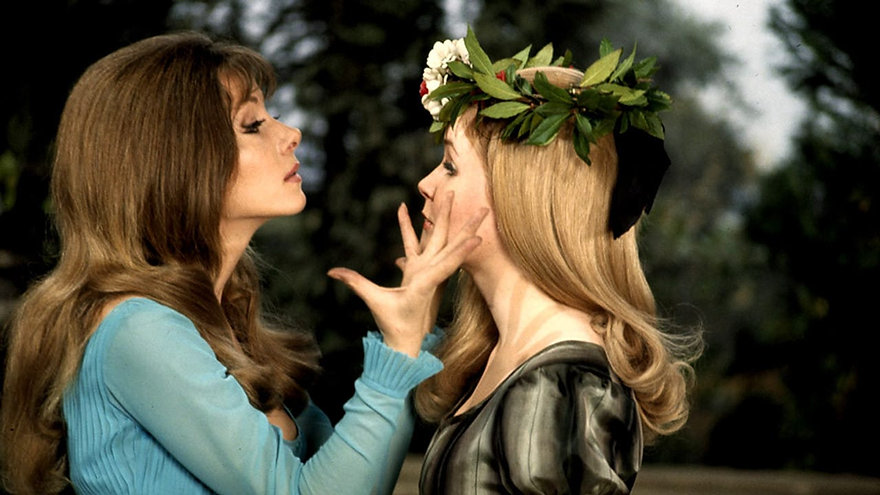 "Ingrid Pitt and Pippa Steel in 1970's ""The Vampire Lovers."""