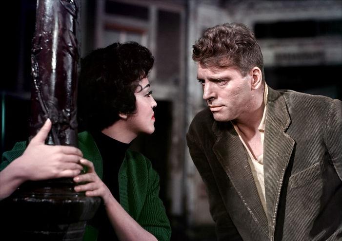 "Katy Jurado and Burt Lancaster in 1956's ""Trapeze."""