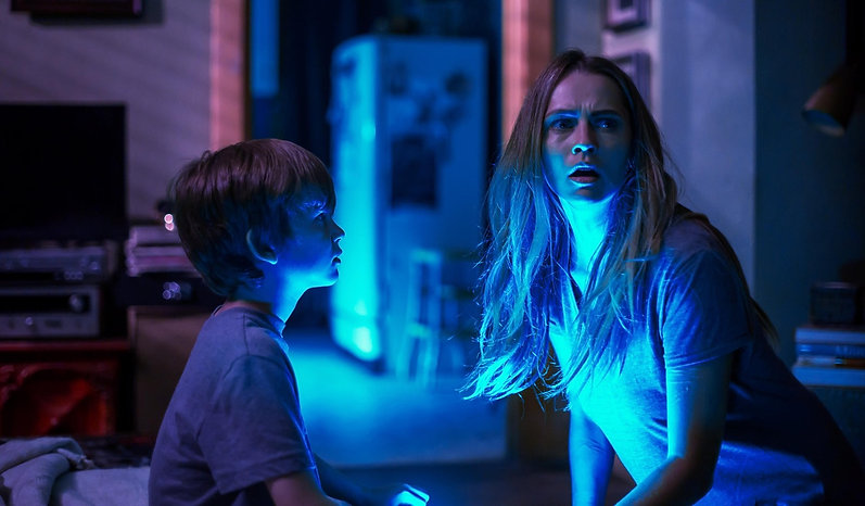 "Gabriel Bateman and Teresa Palmer in 2016's ""Lights Out."""