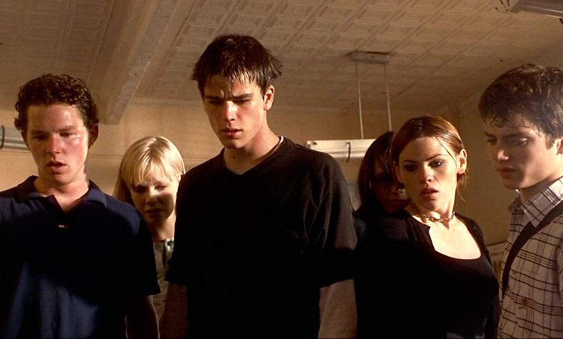 "Shawn Hatosy, Laura Harris, Josh Harnett, Jordana Brewster, Clea DuVall, and Elijah Wood in 1998's ""The Faculty."""
