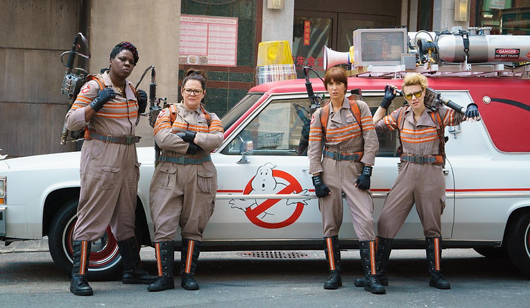 "Leslie Jones, Melissa McCarthy, Kristen Wiig, and Kate McKinnon in 2016's ""Ghostbusters."""
