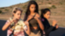 "Kristen Stewart, Ella Balinska, and Naomi Scott in 2019's ""Charlie's Angels."""