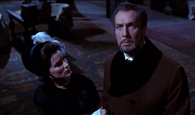 """Debra Paget and Vincent Price in 1963's """"The Haunted Palace."""""""