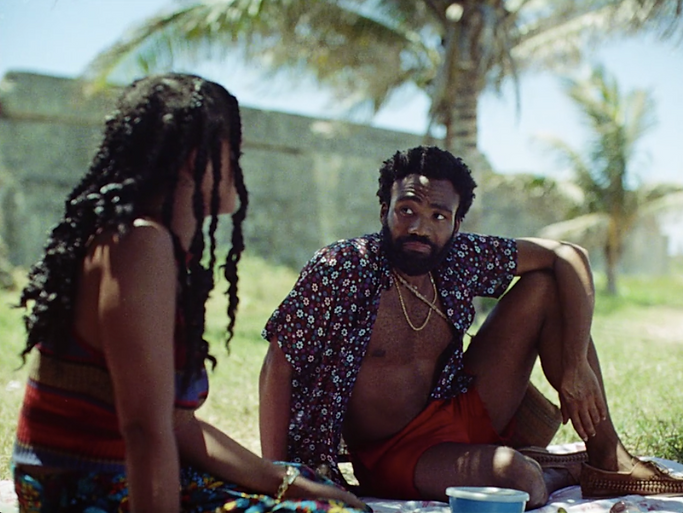 """Rihanna and Donald Glover in 2019's """"Guava Island."""""""