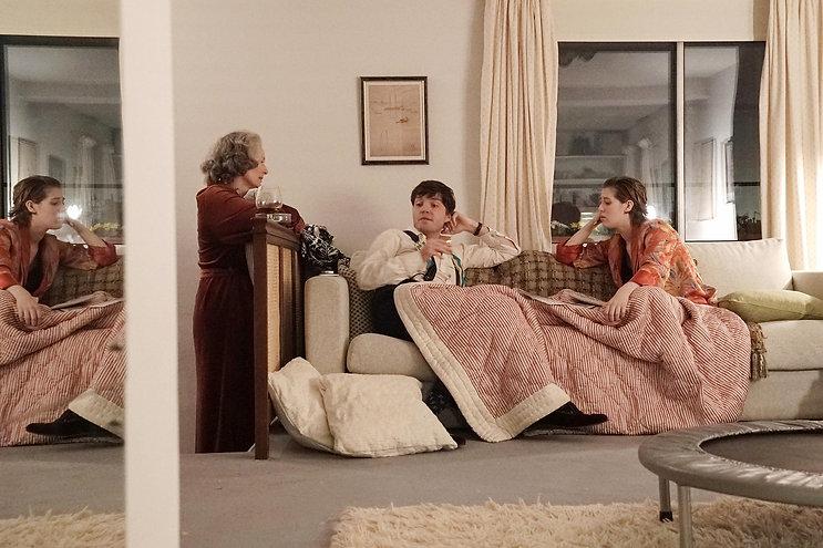 "Tilda Swinton, Tom Burke, and Honor Swinton Byrne in 2019's ""The Souvenir."""