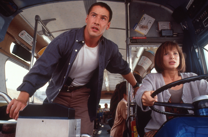 "Keanu Reeves and Sandra Bullock in 1994's ""Speed."""