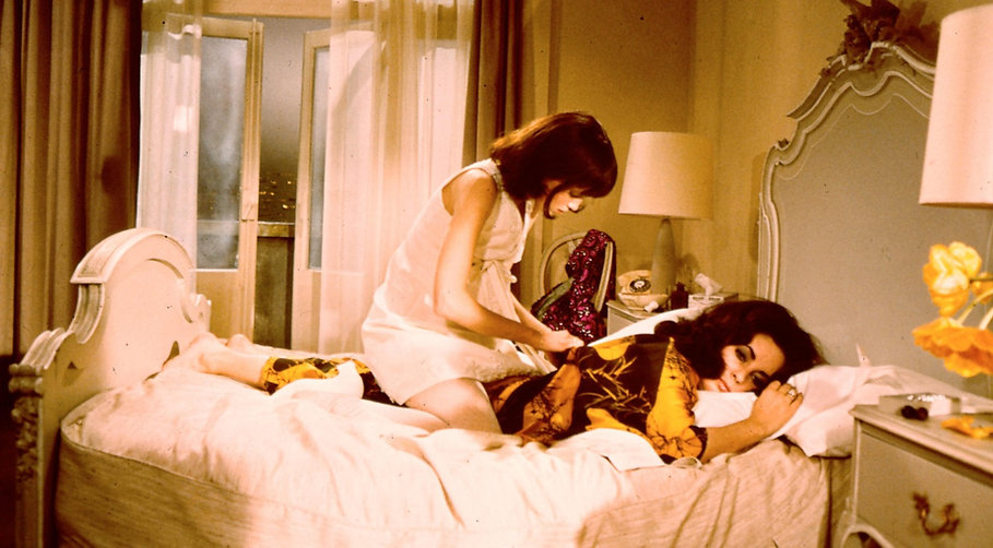 "Mia Farrow and Elizabeth Taylor in 1968's ""Secret Ceremony."""