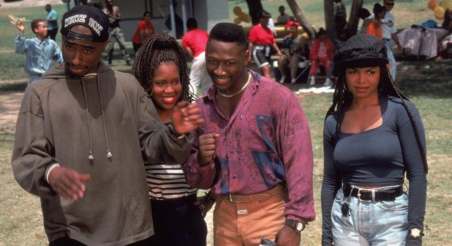 "Tupac Shakur, Regina King, Joe Torry, and Janet Jackson in 1993's ""Poetic Justice."""