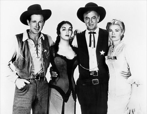 """Lloyd Bridges, Katy Jurado, Gary Cooper, and Grace Kelly in a promotional photo for """"High Noon."""""""