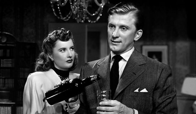 "Barbara Stanwyck and Kirk Douglas in 1946's ""The Strange Love of Martha Ivers."""