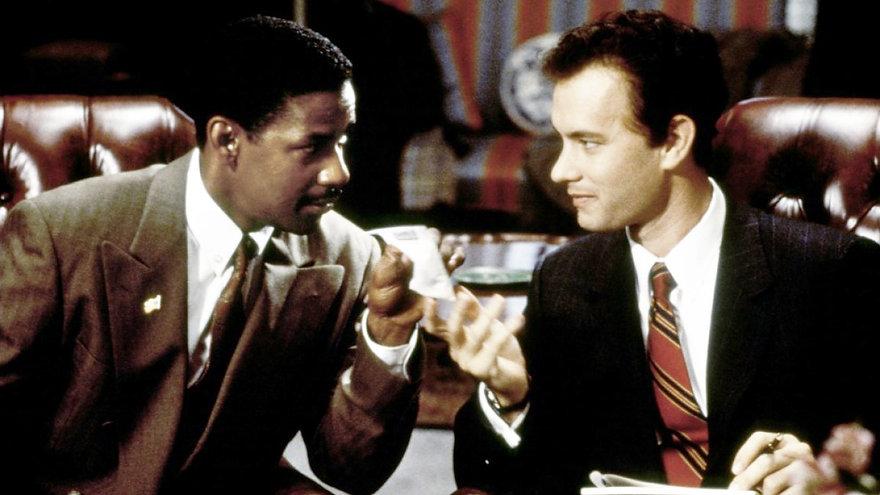 "Denzel Washington and Tom Hanks in 1993's ""Philadelphia."""