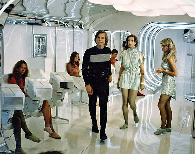 """Michael York, Jenny Agutter, and Farrah Fawcett-Majors in 1976's """"Logan's Run."""""""